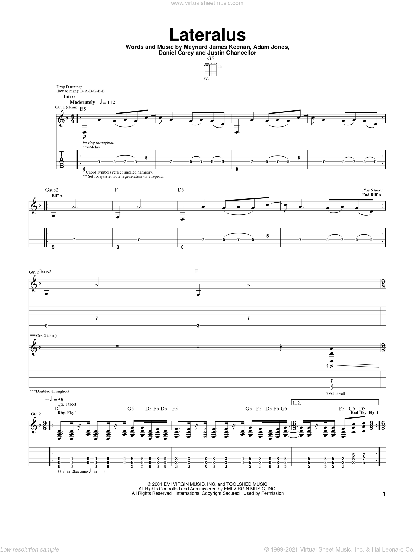 Lateralus sheet music for guitar (tablature) by Justin Chancellor and Tool. Score Image Preview.