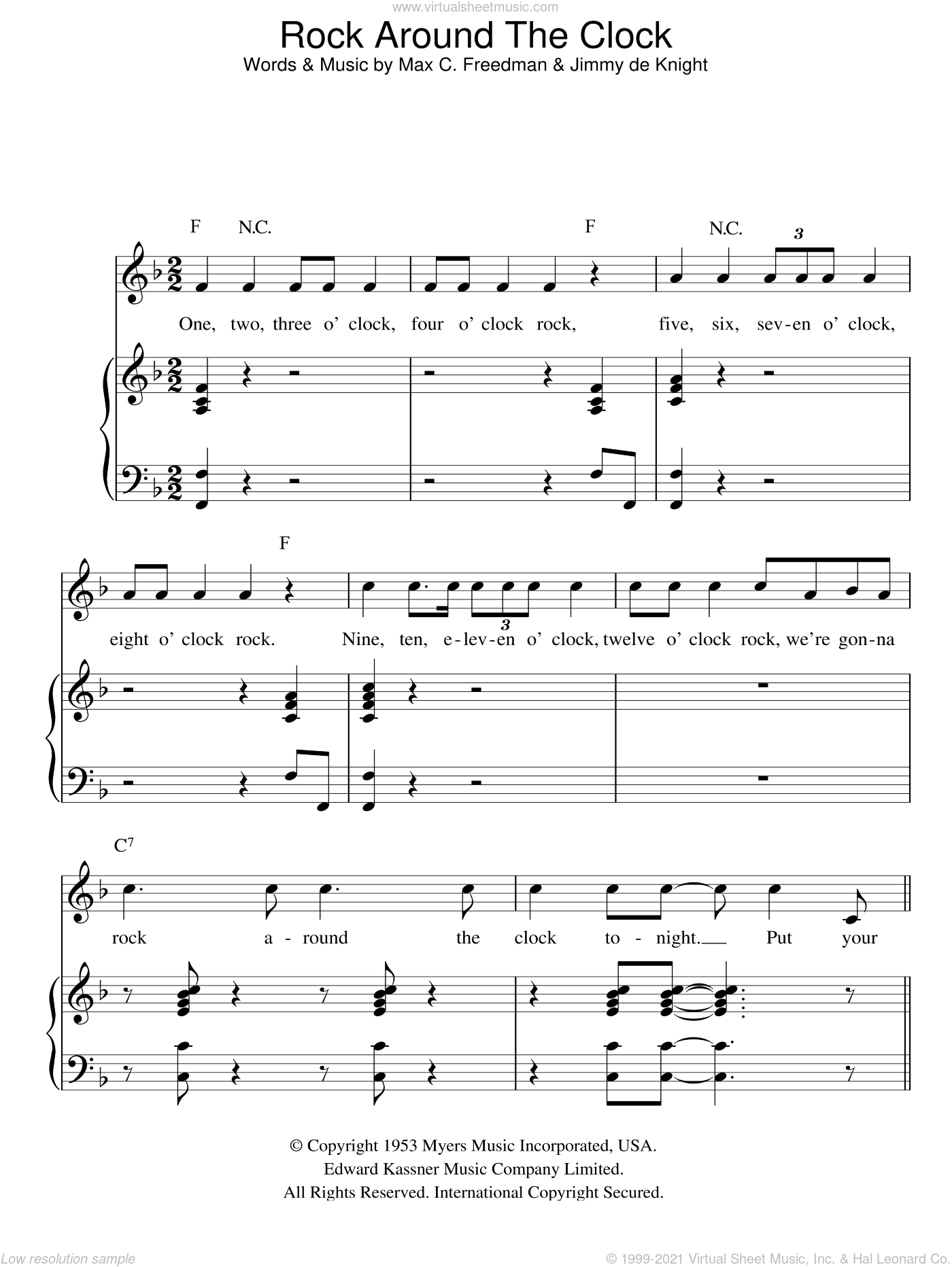 Rock Around The Clock sheet music for voice, piano or guitar by Bill Haley. Score Image Preview.