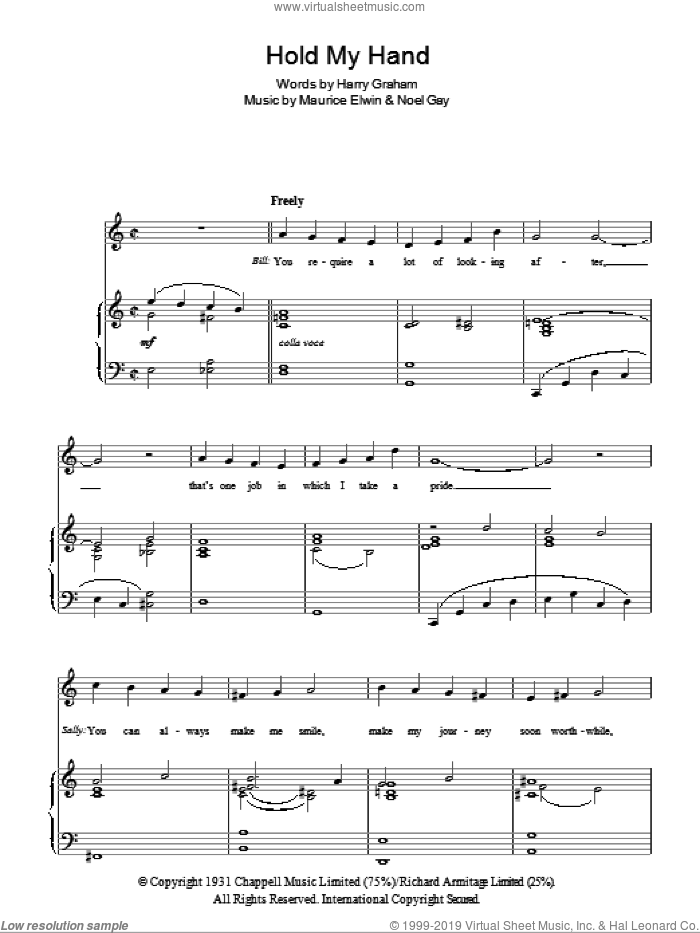 Hold My Hand sheet music for voice, piano or guitar by Maurice Elwin