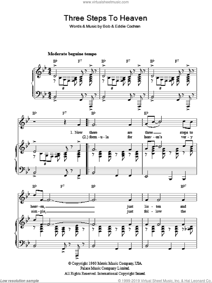 Three Steps To Heaven sheet music for voice, piano or guitar by Bobby Cochran and Eddie Cochran. Score Image Preview.