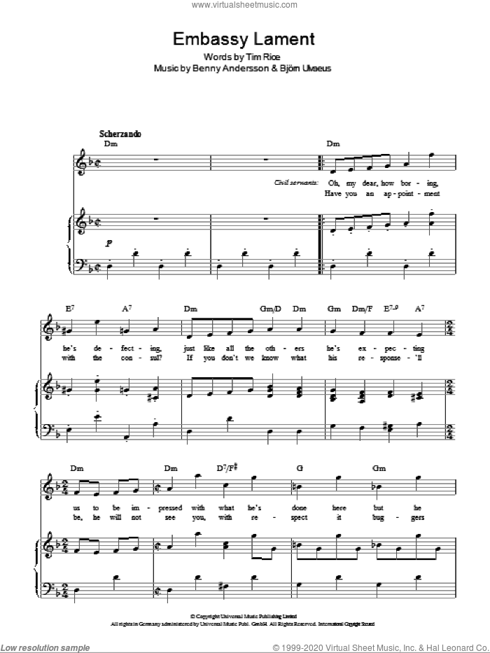 Embassy Lament sheet music for voice, piano or guitar by Tim Rice, Chess (Musical), Benny Andersson and Bjorn Ulvaeus, intermediate skill level