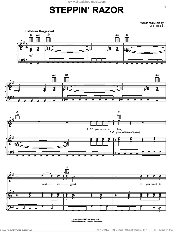 Steppin' Razor sheet music for voice, piano or guitar by Joe Higgs