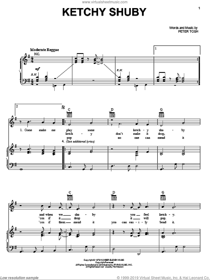 Ketchy Shuby sheet music for voice, piano or guitar by Peter Tosh, intermediate skill level