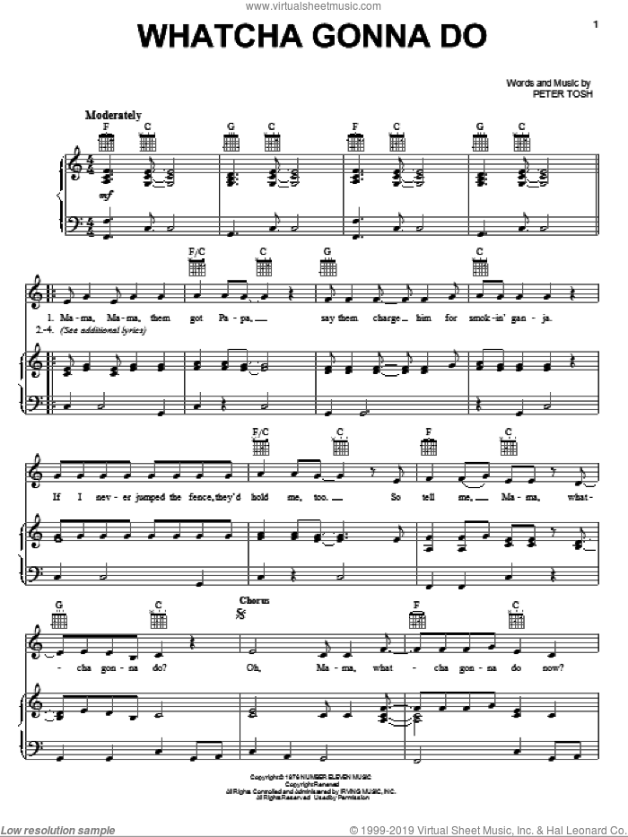 Whatcha Gonna Do sheet music for voice, piano or guitar by Peter Tosh, intermediate skill level