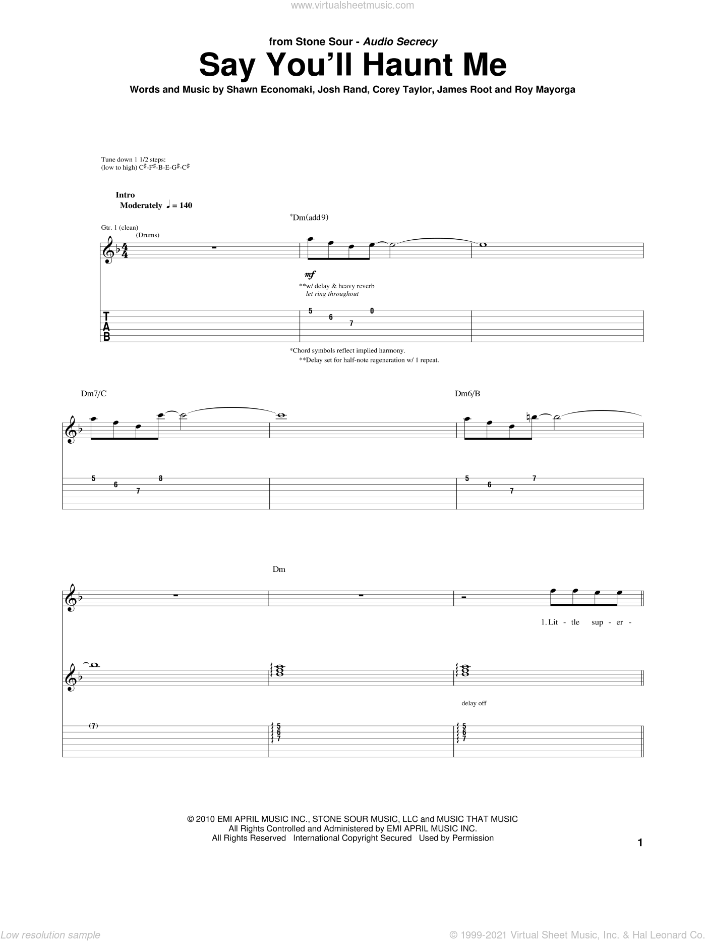 Say You'll Haunt Me sheet music for guitar (tablature) by Stone Sour, Corey Taylor, James Root, Josh Rand, Roy Mayorga and Shawn Economaki, intermediate skill level