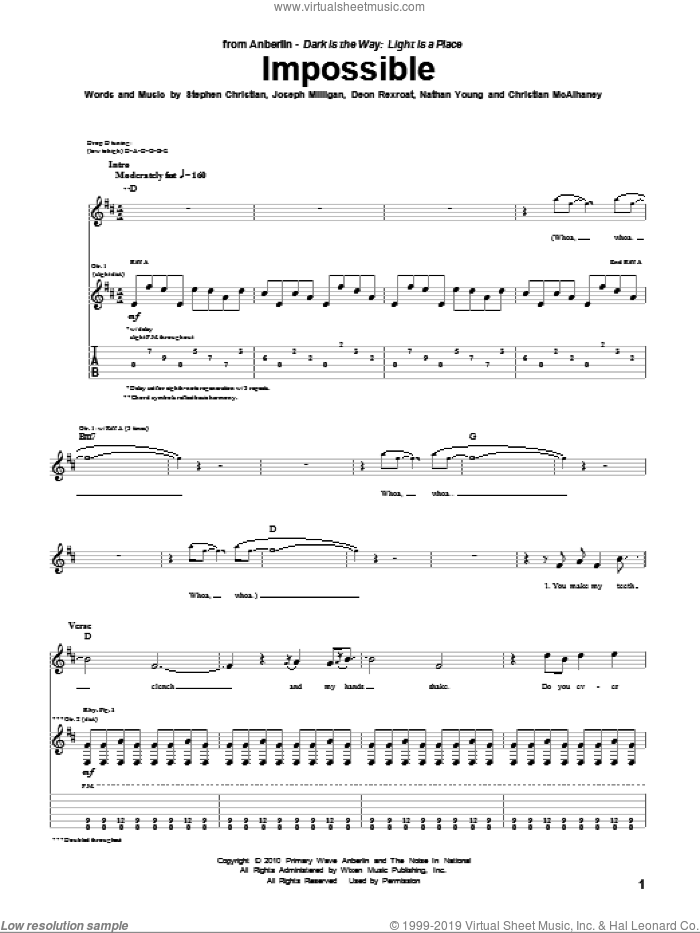 Impossible sheet music for guitar (tablature) by Anberlin, Christian McAlhaney, Deon Rexroat, Joseph Milligan, Nathan Young and Stephen Christian, intermediate skill level