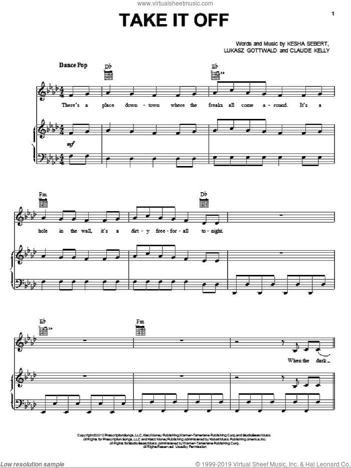 Take It Off sheet music for voice, piano or guitar by Ke$ha, Claude Kelly, Kesha Sebert and Lukasz Gottwald. Score Image Preview.
