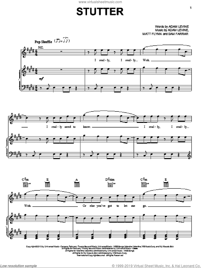 Stutter sheet music for voice, piano or guitar by Sam Farrar, Maroon 5 and Adam Levine. Score Image Preview.