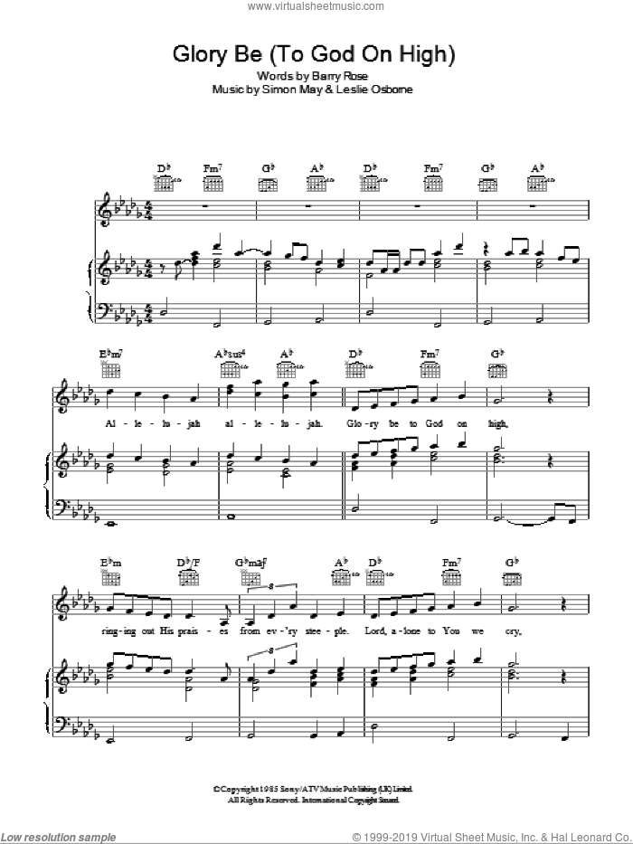 Glory Be (To God On High) sheet music for voice, piano or guitar by Leslie Osborne and Simon May. Score Image Preview.