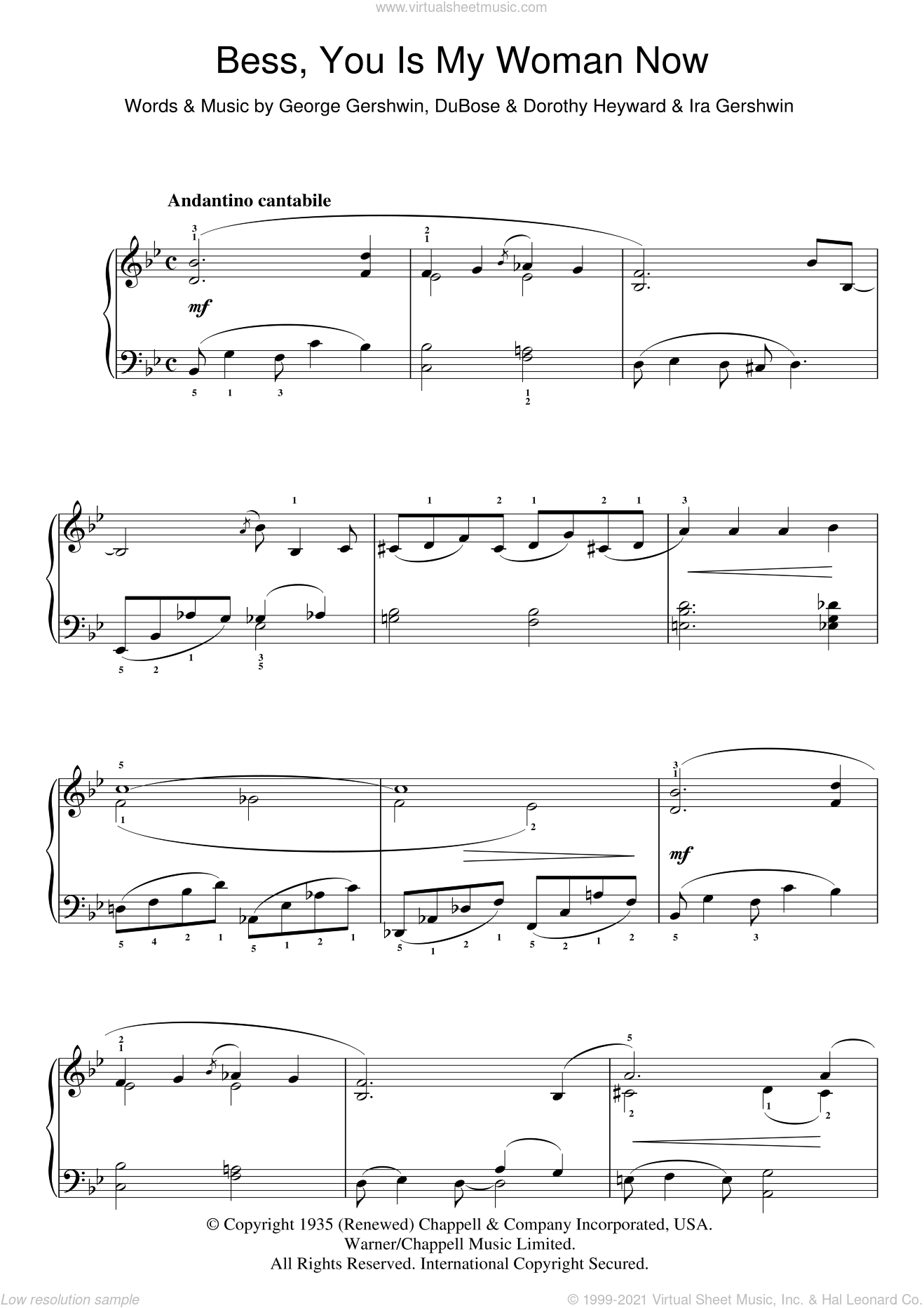 Bess, You Is My Woman Now sheet music for piano solo by Ira Gershwin