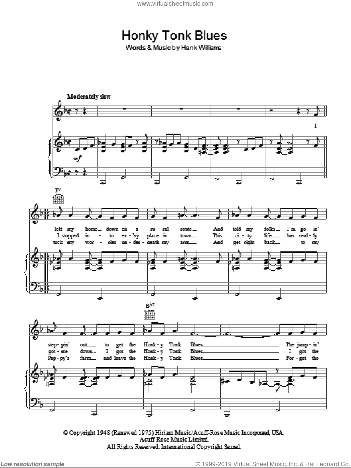 Honky Tonk Blues sheet music for voice, piano or guitar by Hank Williams, intermediate skill level