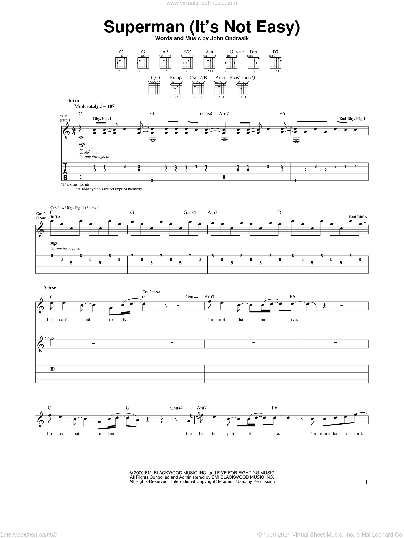 Superman (It's Not Easy) sheet music for guitar (tablature) by Five For Fighting and John Ondrasik, intermediate skill level