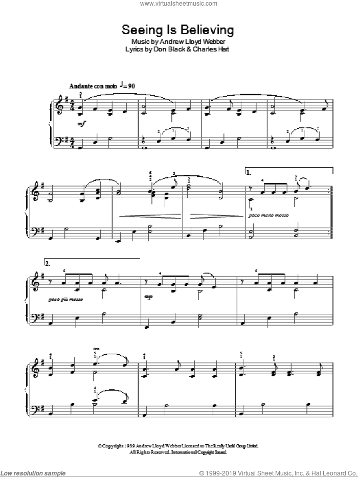 Seeing Is Believing sheet music for piano solo (chords) by Don Black