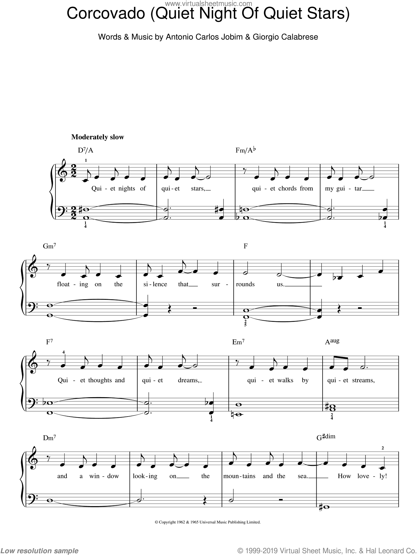 Corcovado (Quiet Nights Of Quiet Stars) sheet music for piano solo by Antonio Carlos Jobim, easy. Score Image Preview.