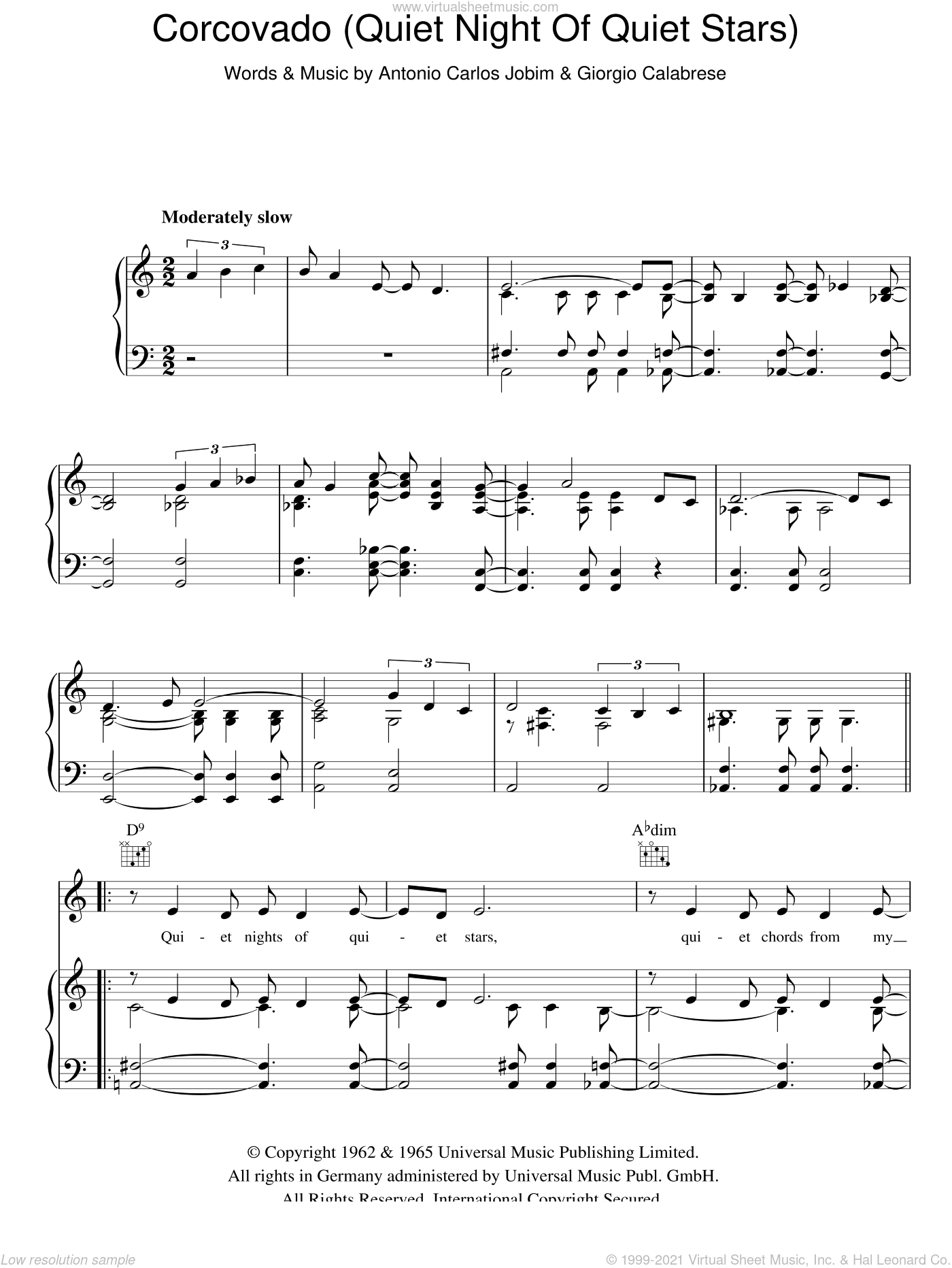 Corcovado (Quiet Nights Of Quiet Stars) sheet music for voice, piano or guitar by Giorgio Calabrese