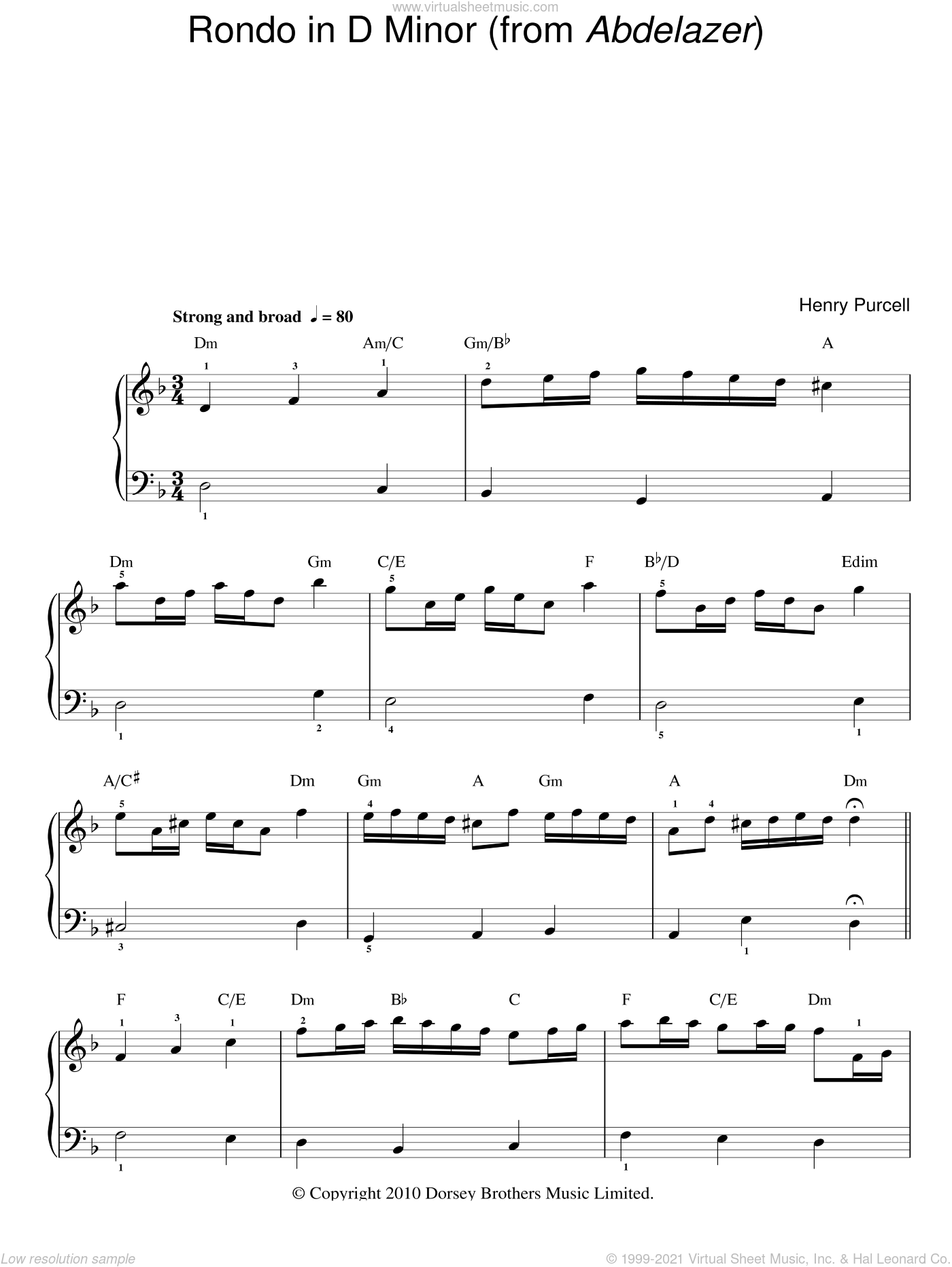 Rondo In D Minor (from Abdelazer) sheet music for piano solo (chords) by Henry Purcell