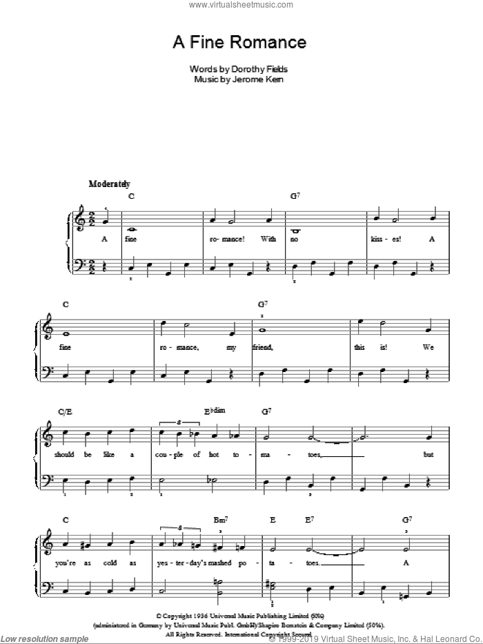 A Fine Romance sheet music for piano solo by Jerome Kern, Billie Holiday, Frank Sinatra and Dorothy Fields. Score Image Preview.