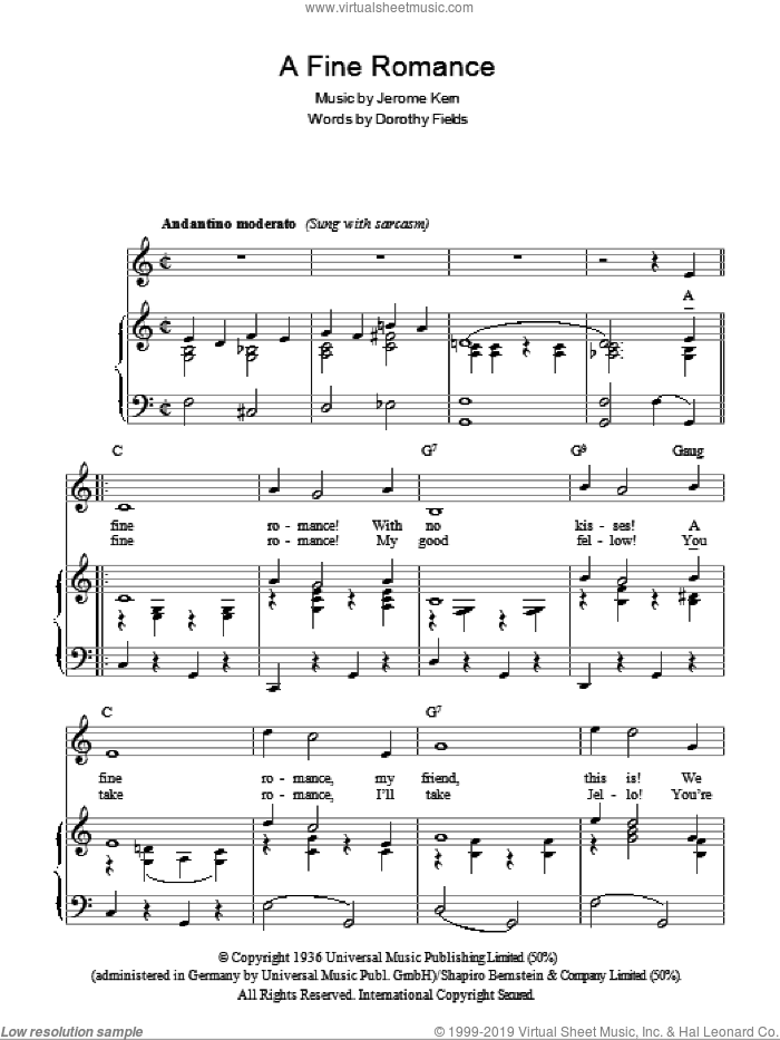 A Fine Romance sheet music for voice, piano or guitar by Billie Holiday, Frank Sinatra, Dorothy Fields and Jerome Kern, intermediate skill level