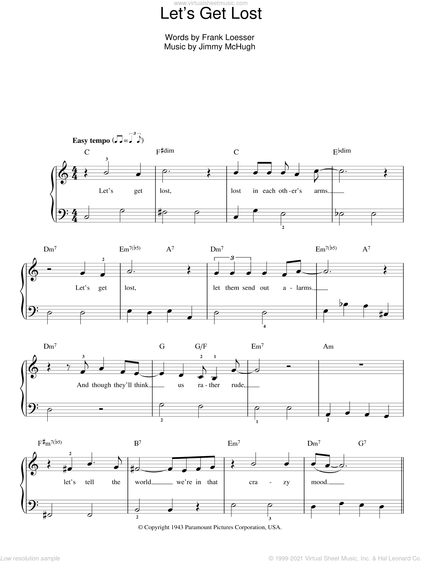 Let's Get Lost sheet music for piano solo by Chet Baker, Frank Loesser and Jimmy McHugh, easy skill level