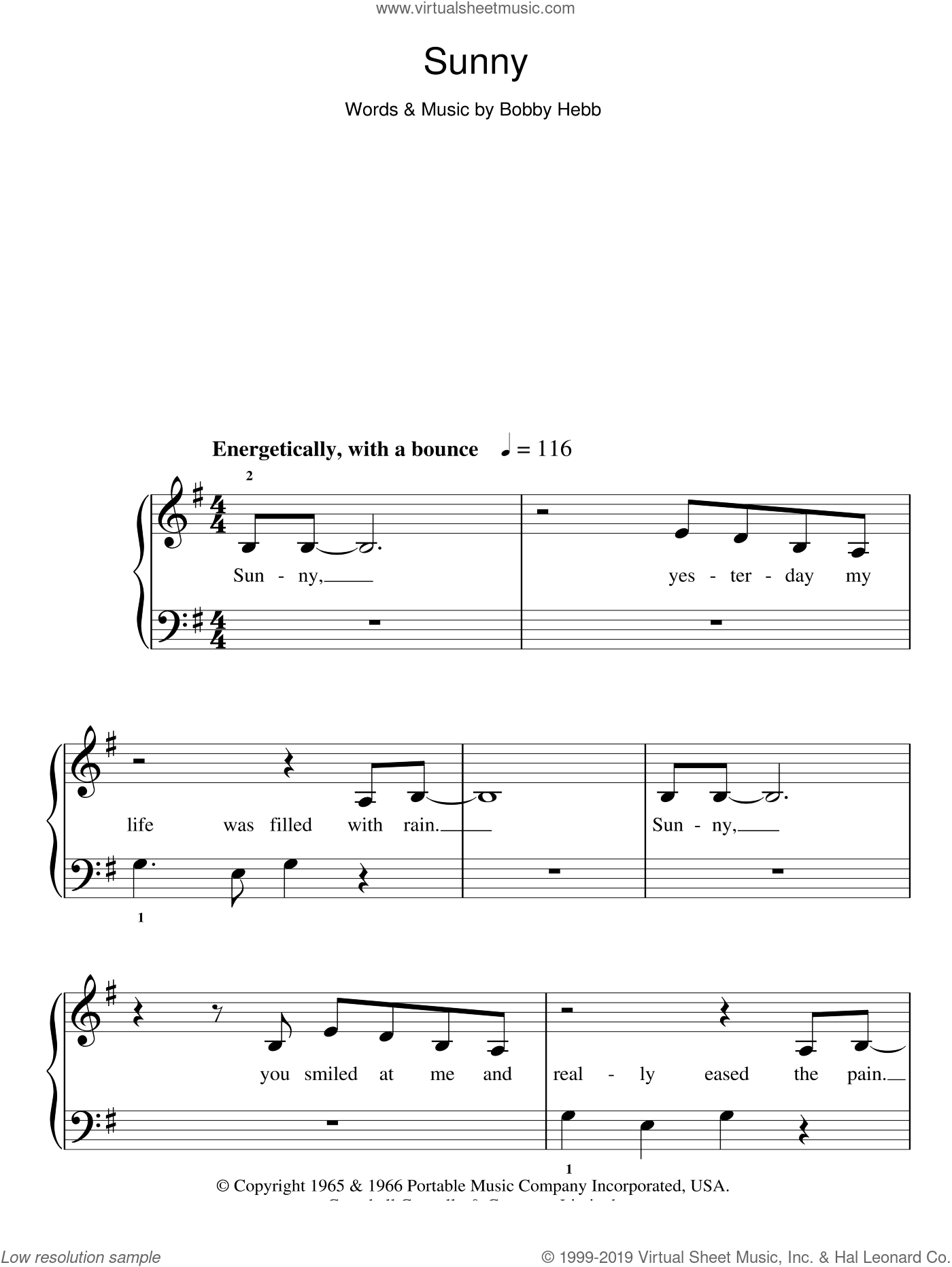 Sunny sheet music for piano solo (chords) by Bobby Hebb