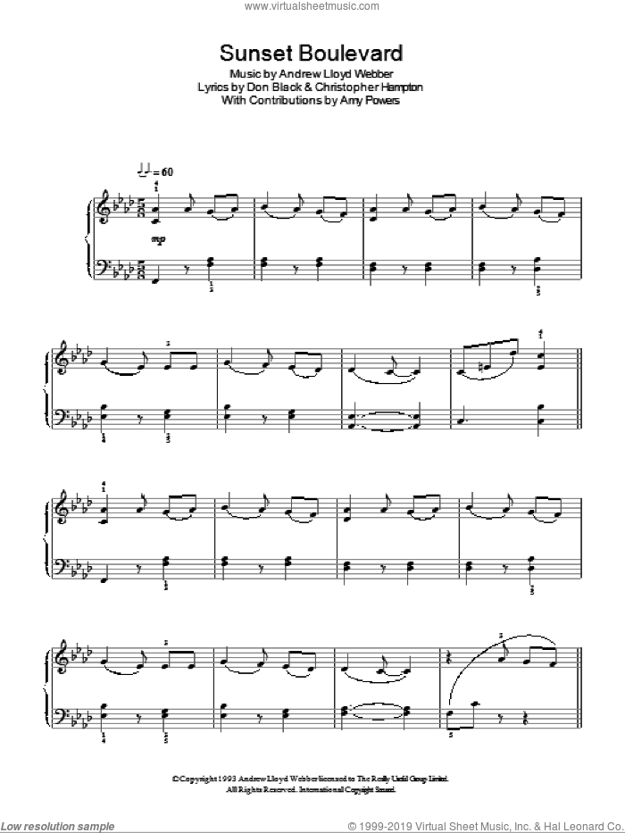 Sunset Boulevard sheet music for piano solo by Andrew Lloyd Webber, Sunset Boulevard (Musical), Anthony Powers, Christopher Hampton and Don Black, easy skill level