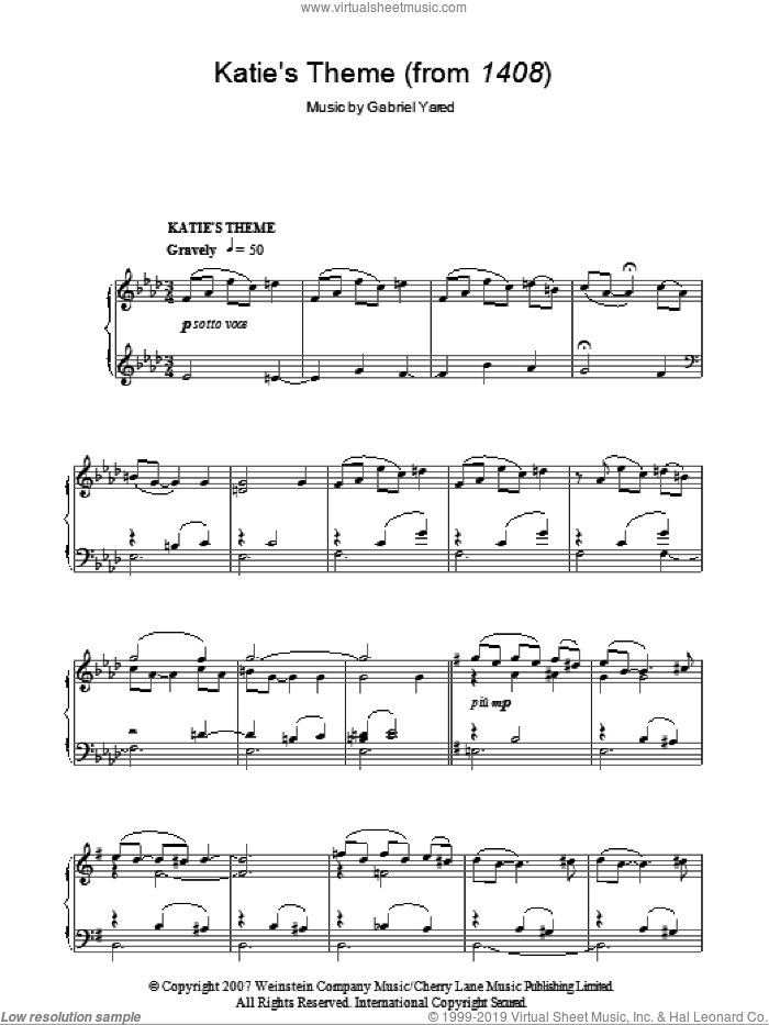 Katie's Theme sheet music for piano solo by Gabriel Yared