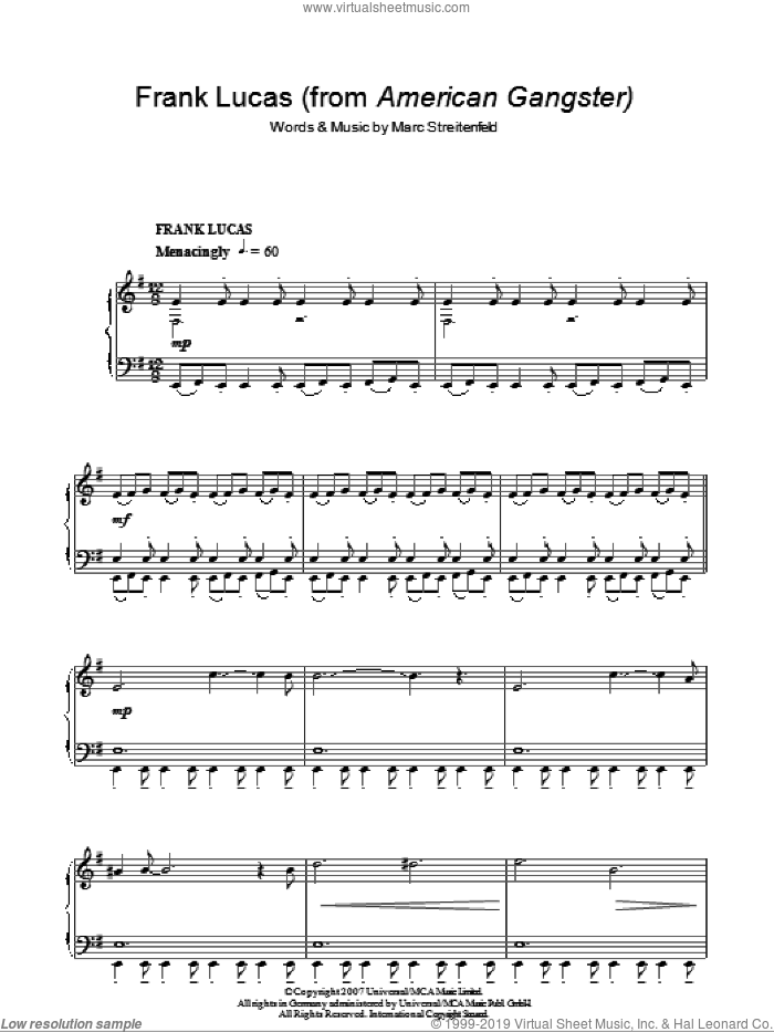 Frank Lucas sheet music for piano solo by Marc Streitenfeld. Score Image Preview.
