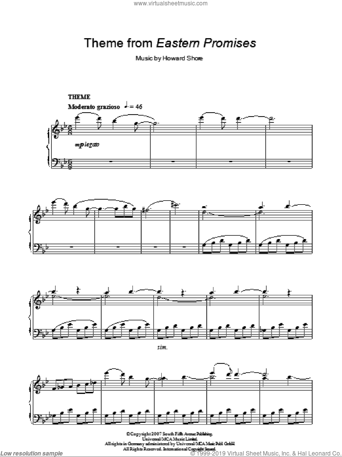 Theme from Eastern Promises sheet music for piano solo by Howard Shore. Score Image Preview.