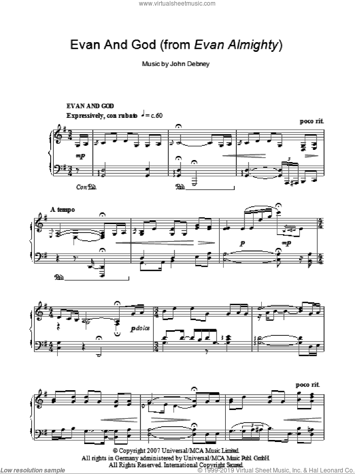 Evan And God sheet music for piano solo by John Debney, intermediate skill level