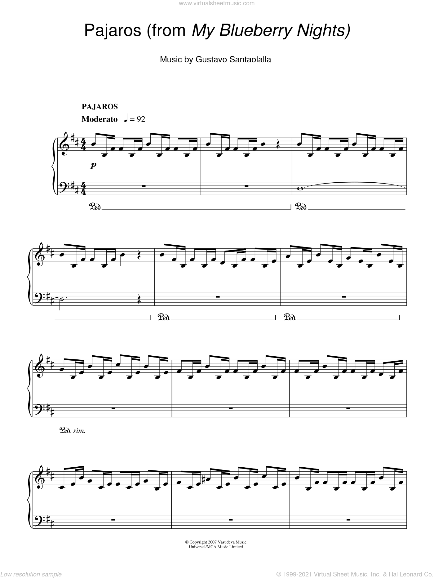 Pajaros sheet music for piano solo by Gustavo Santaolalla. Score Image Preview.