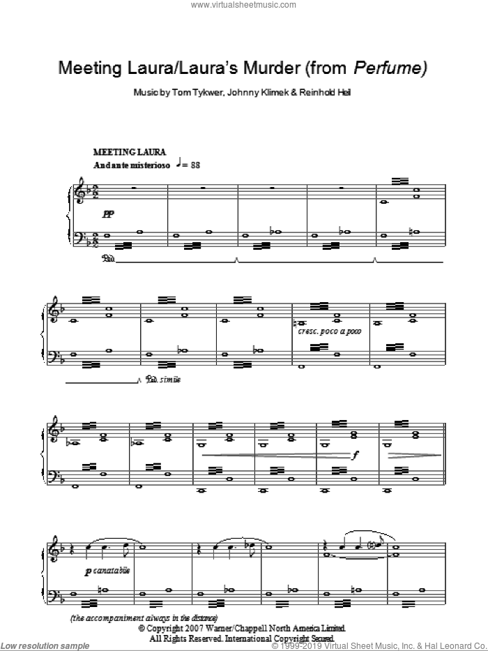 Meeting Laura / Laura's Murder sheet music for piano solo by Reinhold Heil and Tom Tykwer. Score Image Preview.