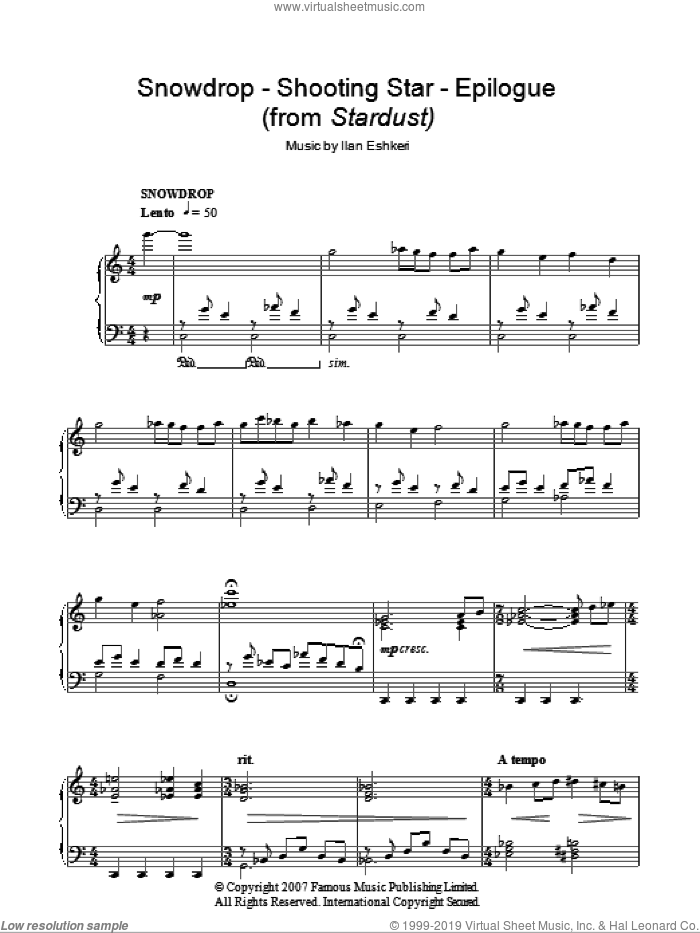 Snowdrop / Shooting Star / Epilogue sheet music for piano solo by Ilan Eshkeri. Score Image Preview.