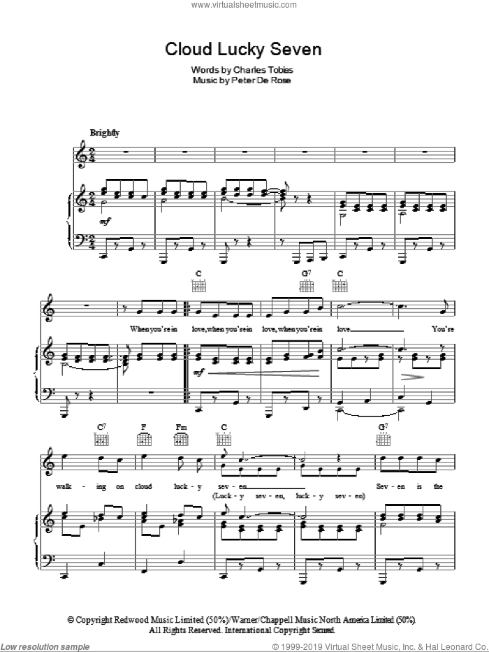 Cloud Lucky Seven sheet music for voice, piano or guitar by Peter DeRose