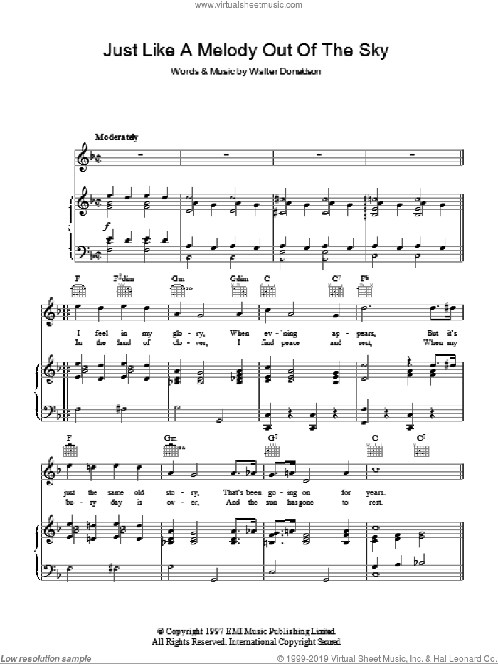 Just Like A Melody Out Of The Sky sheet music for voice, piano or guitar by Jay Wilbur and Walter Donaldson, intermediate voice, piano or guitar. Score Image Preview.