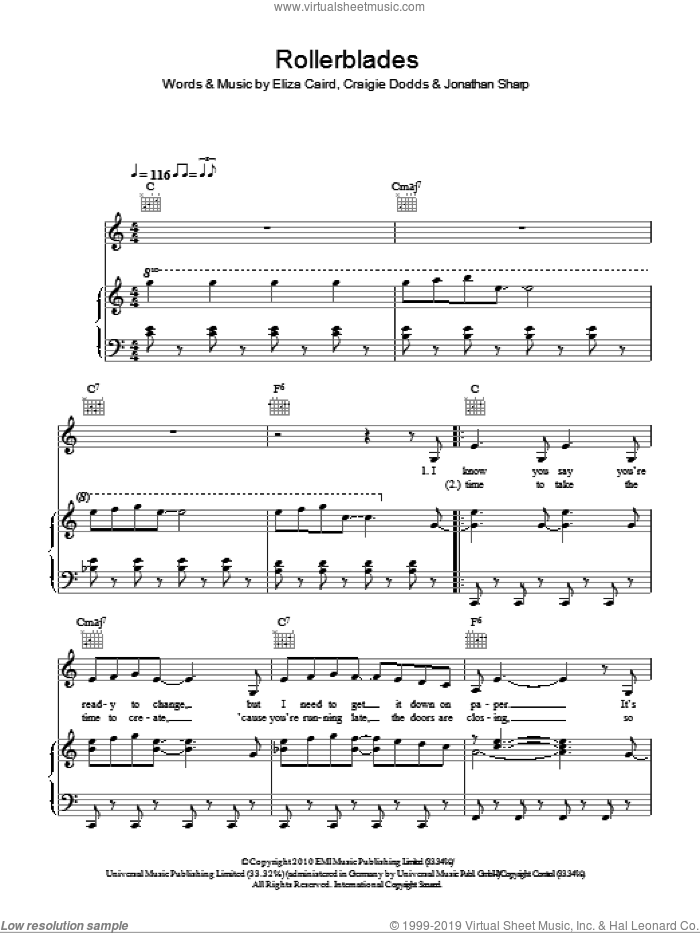 Rollerblades sheet music for voice, piano or guitar by Eliza Doolittle, Craigie Dodds, Eliza Caird and Jonathan Sharp, intermediate skill level