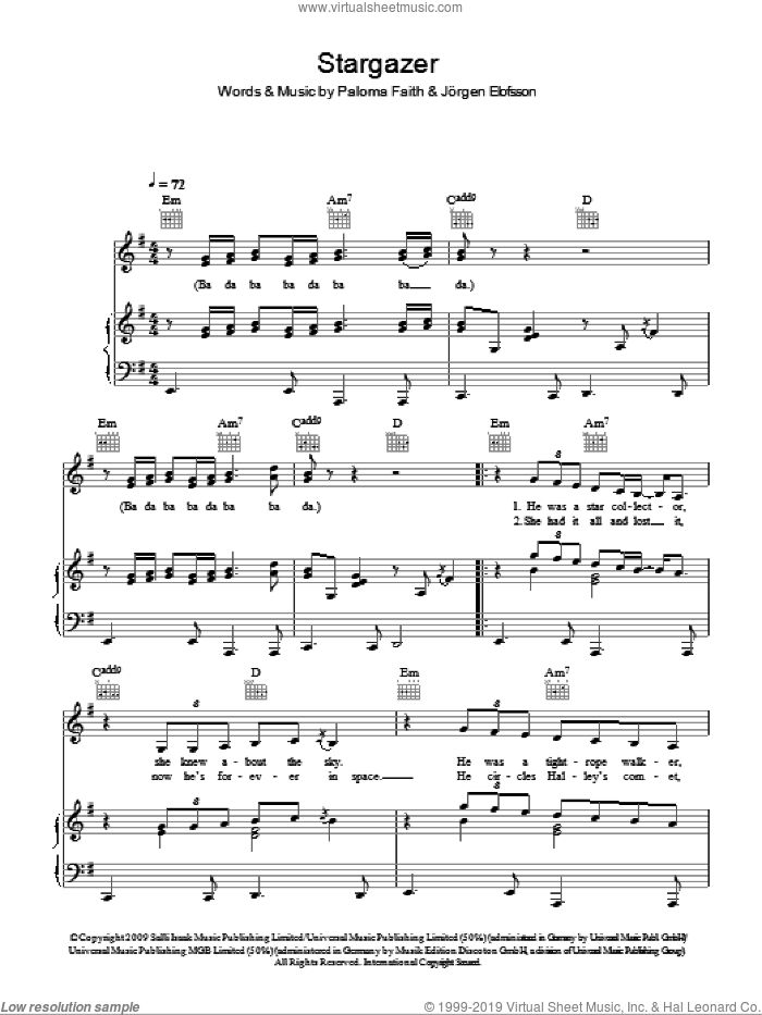 Stargazer sheet music for voice, piano or guitar by Paloma Faith, intermediate. Score Image Preview.