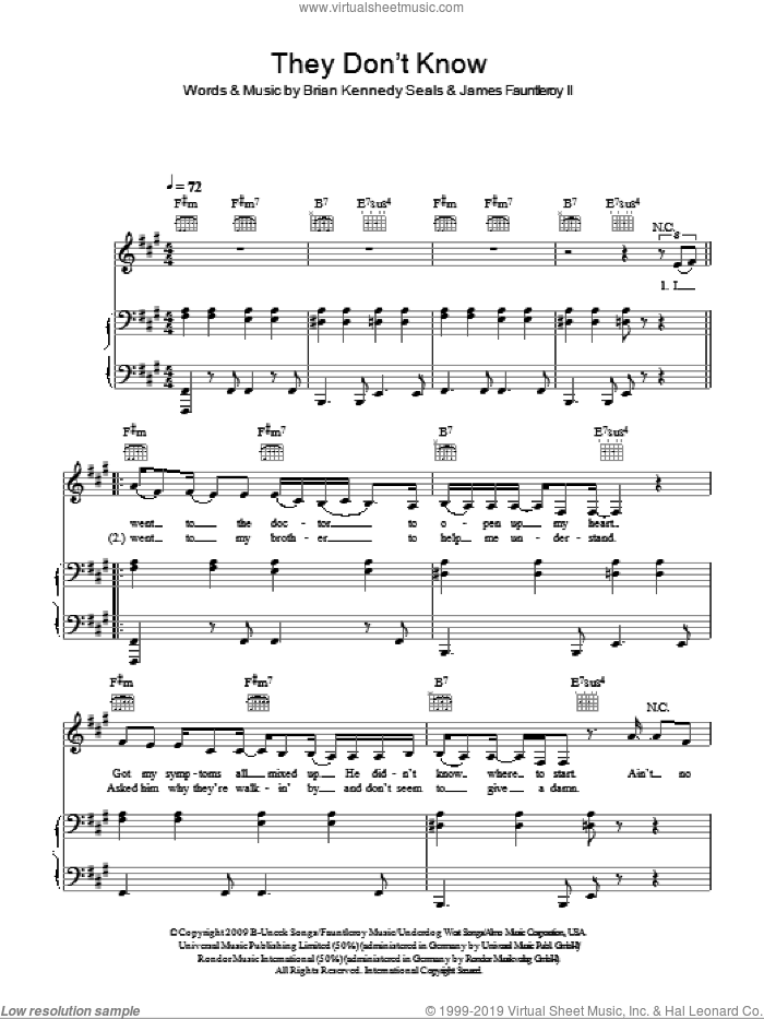 They Don't Know sheet music for voice, piano or guitar by Alexandra Burke, Brian Kennedy Seals and James Fauntleroy, intermediate skill level