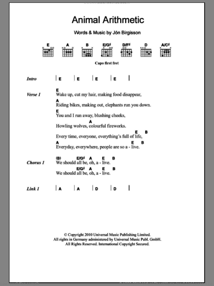 Animal Arithmetic sheet music for guitar (chords) by Jon Birgisson. Score Image Preview.