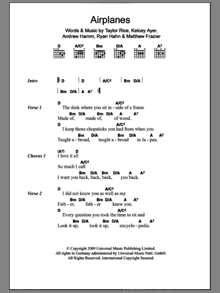 Airplanes sheet music for guitar (chords) by Local Natives, Andrew Hamm, Kelcey Ayer, Matthew Frazier, Ryan Hahn and Taylor Rice, intermediate skill level