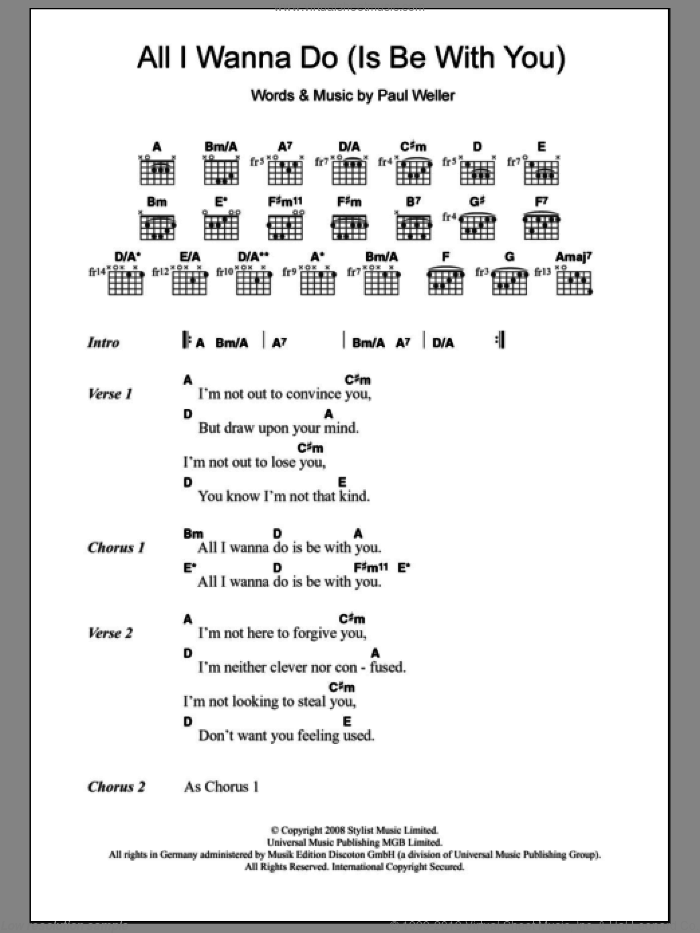 All I Wanna Do (Is Be With You) sheet music for guitar (chords) by Paul Weller, intermediate skill level
