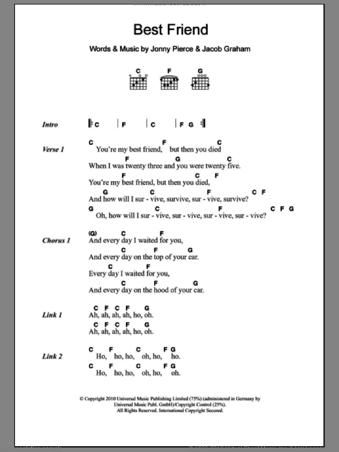 Best Friend sheet music for guitar (chords, lyrics, melody) by Jonny Pierce