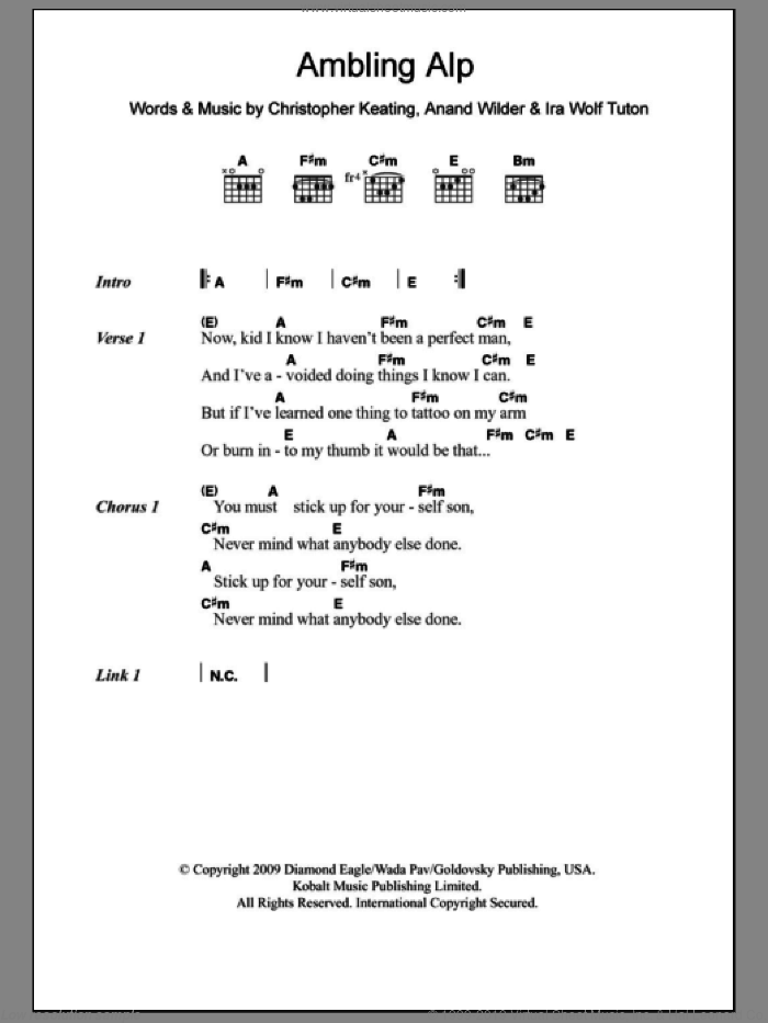 Ambling Alp sheet music for guitar (chords) by Yeasayer, Anand Wilder, Christopher Keating and Ira Wolf Tuton, intermediate skill level