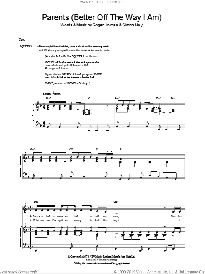 Parents (Better Off The Way I Am) sheet music for voice, piano or guitar by Simon May and Roger Holman, intermediate. Score Image Preview.