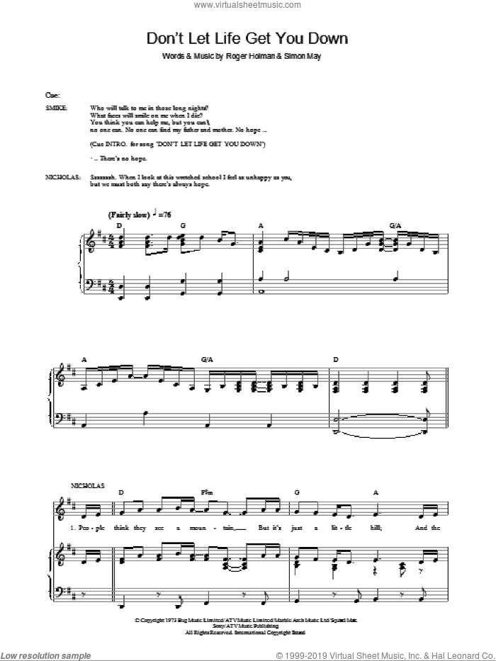 Don't Let Life Get You Down sheet music for voice, piano or guitar by Simon May and Roger Holman, intermediate skill level