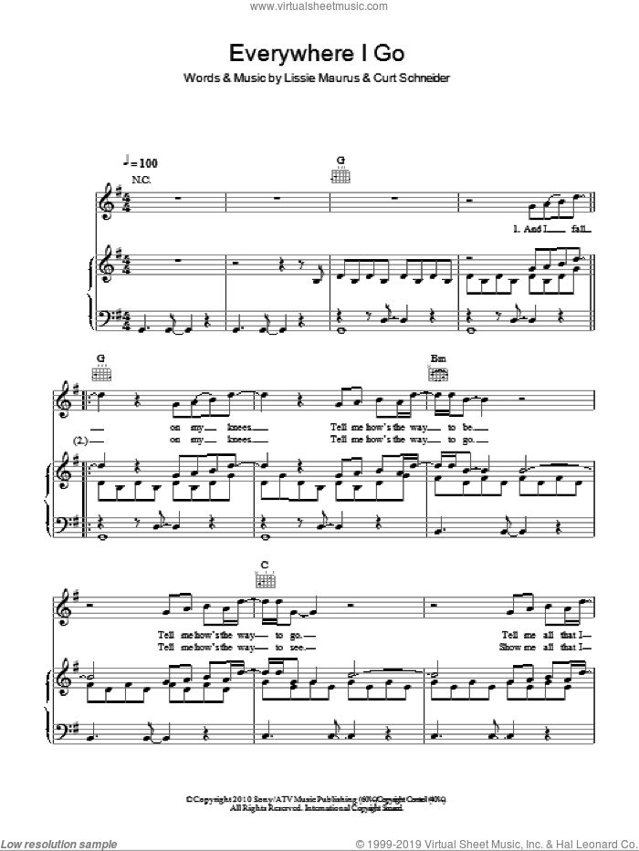 Everywhere I Go sheet music for voice, piano or guitar by Lissie Maurus. Score Image Preview.