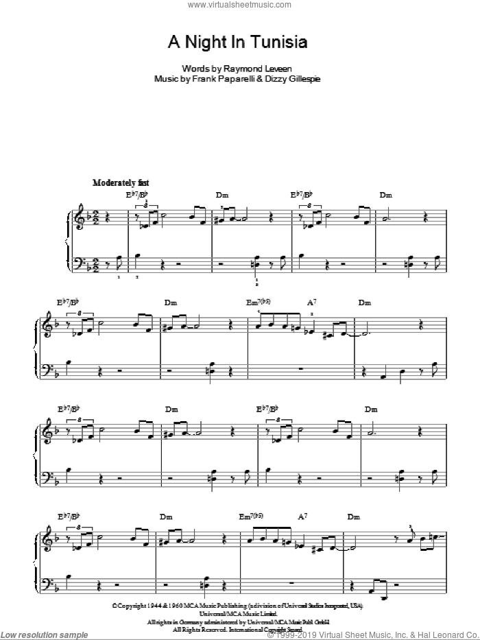 A Night In Tunisia, (easy) sheet music for piano solo by Dizzy Gillespie, Frank Paparelli and Raymond Leveen, easy skill level