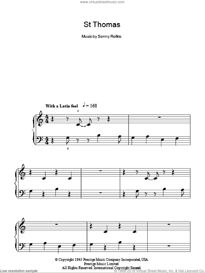 St Thomas sheet music for piano solo by Sonny Rollins. Score Image Preview.