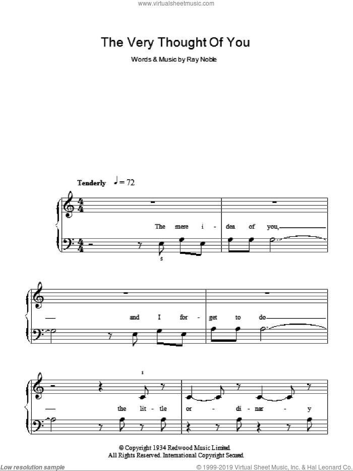 The Very Thought Of You sheet music for piano solo by Ray Noble and Rod Stewart. Score Image Preview.