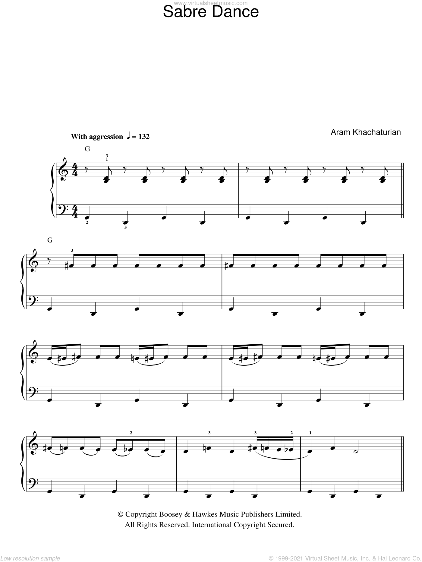 Sabre Dance, (easy) sheet music for piano solo by Aram Khachaturian, classical score, easy skill level