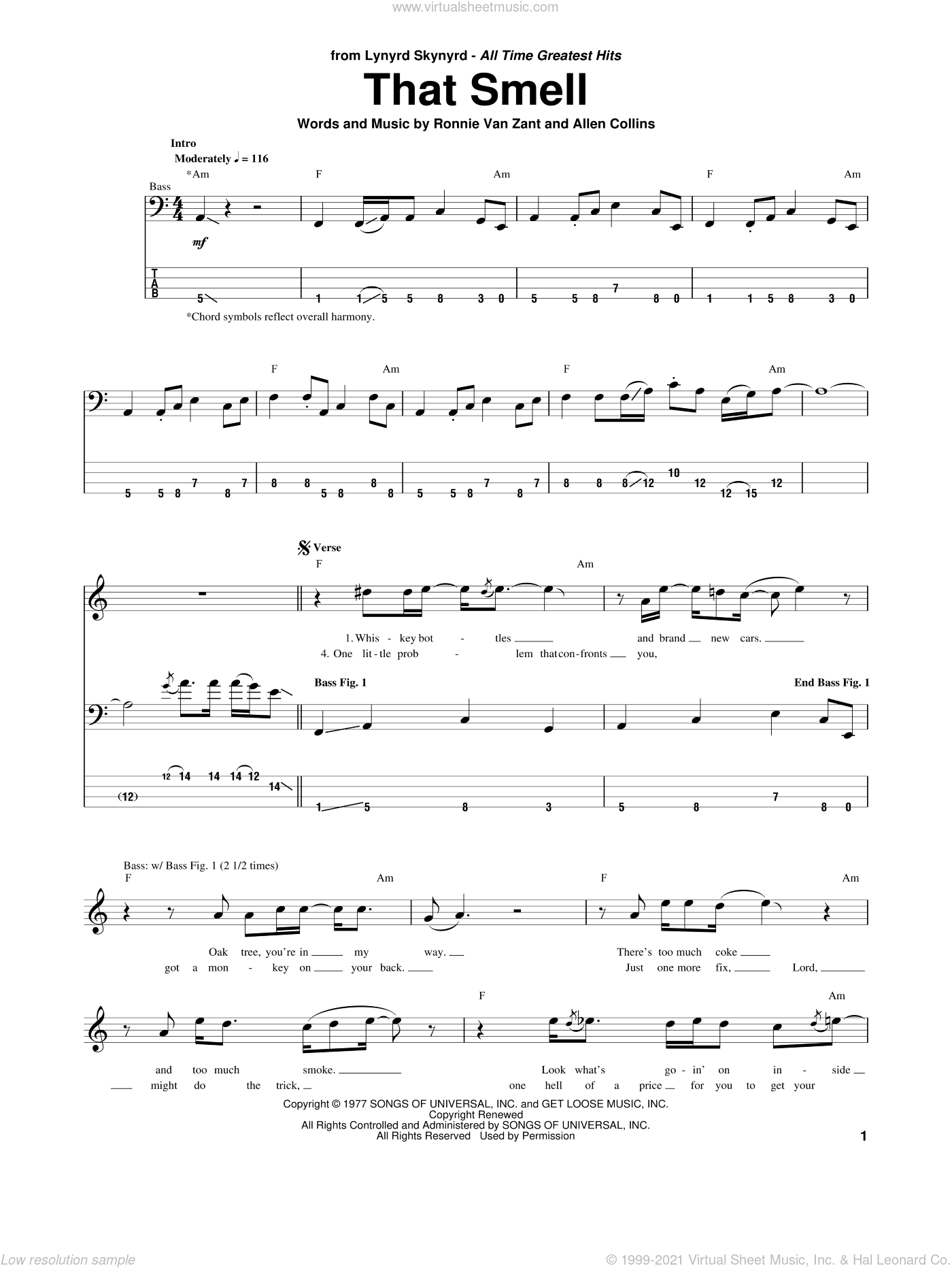 That Smell sheet music for bass (tablature) (bass guitar) by Ronnie Van Zant